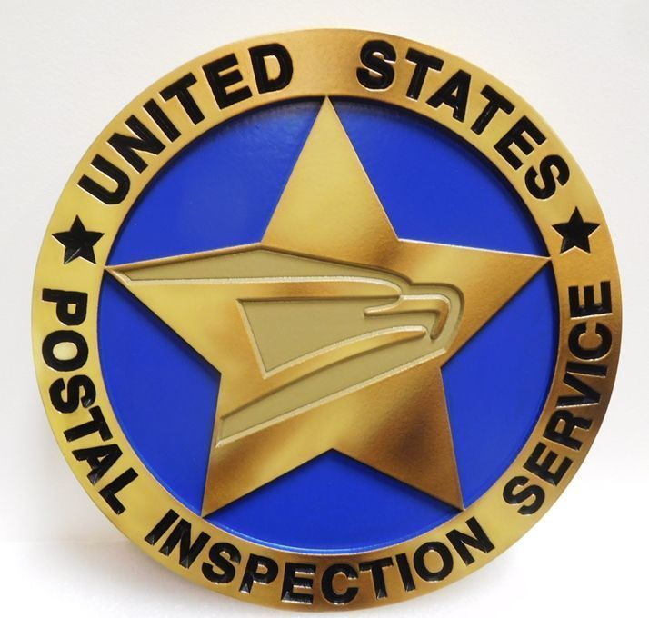 U30509 - Carved 2.5-D HDU Plaque of the Seal of the United States Postal Inspection Service, Painted in  Metallic Brass and Bronze Enamels