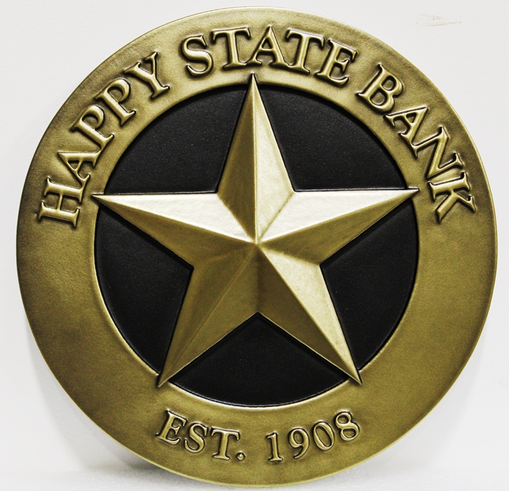 C12216 - Carved 3D Brass-Plated Sign for the Happy State Bank in Texas
