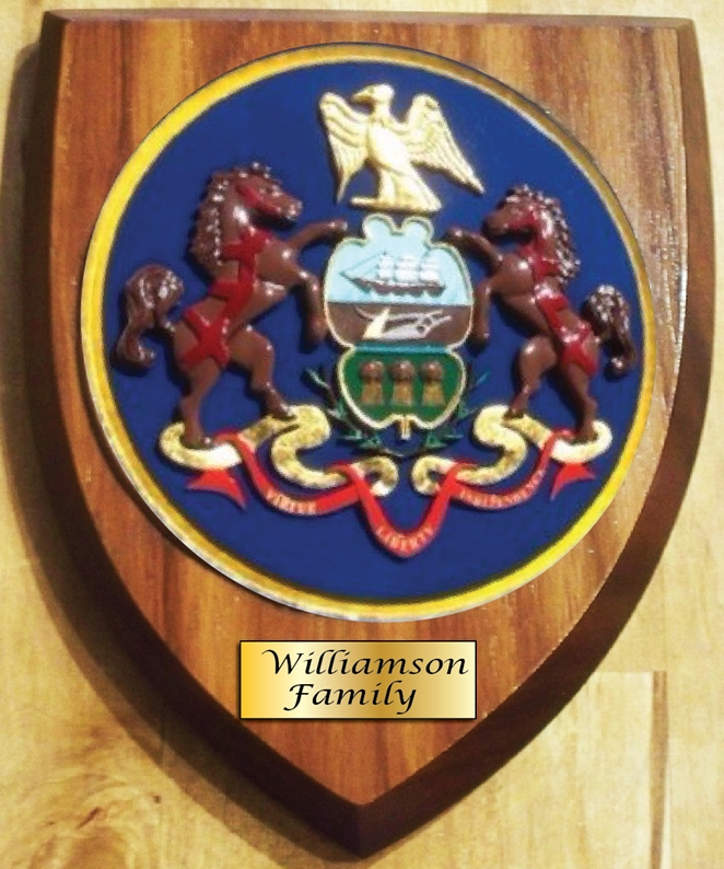 XP-2160 - Carved Shield Wall Plaque of Family Coat-of-Arms / Crest, Gold Leaf Gilded with Cedar Wood