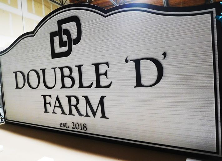 "O24094 - Carved and Sandblasted HDU Entrance Address Sign for  ""Double D Farm""."