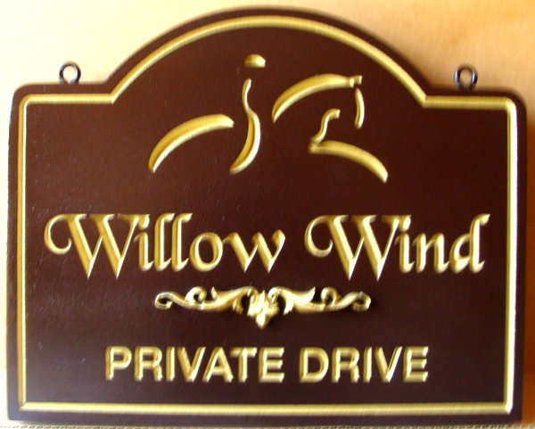 "P25044 - Engraved Equestrian Entrance Sign for Residence or Ranch  ""Willow Wind""  with Gold-Leaf  Stylized Horse and Rider"