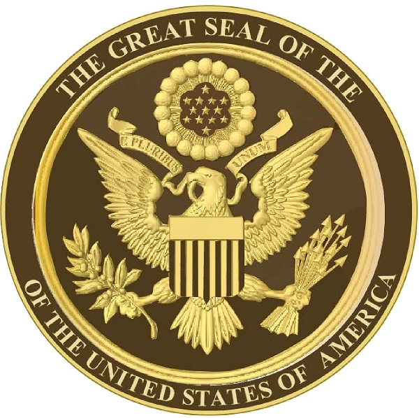 U30037 - Gold and Dark Brown 3D Carved HDU US Great Seal Wall Plaque