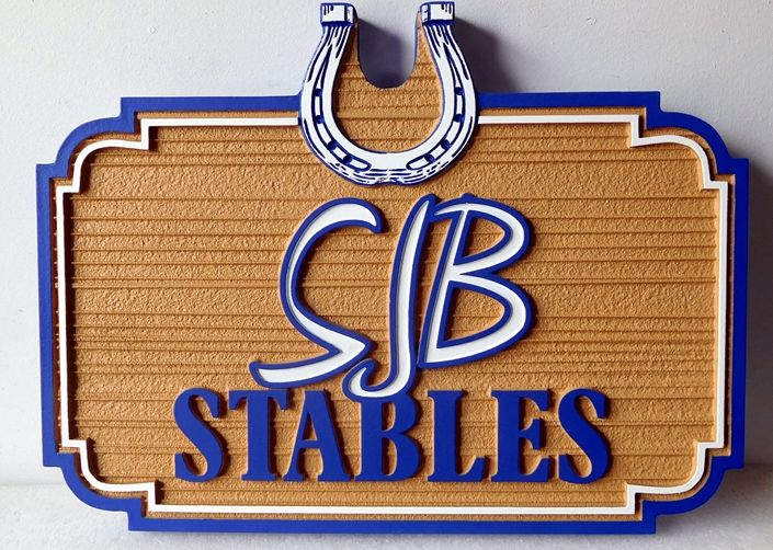 P25153 - Carved High Density Urethane For Stables with Decorative Carved Horseshoe