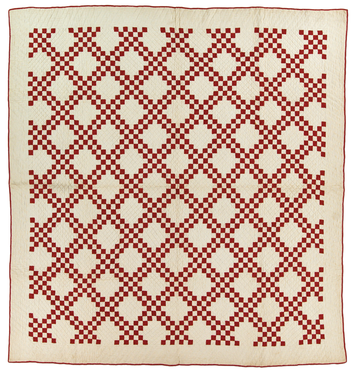 Double Irish Chain, maker unknown, 1900-1920, made in United States, hand pieced, hand quilted, 68 x 66.5 inches, IQSCM 2003.003.0364, Jonathan Holstein Collection