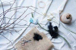 Goodwill DIY witch's broom project materials