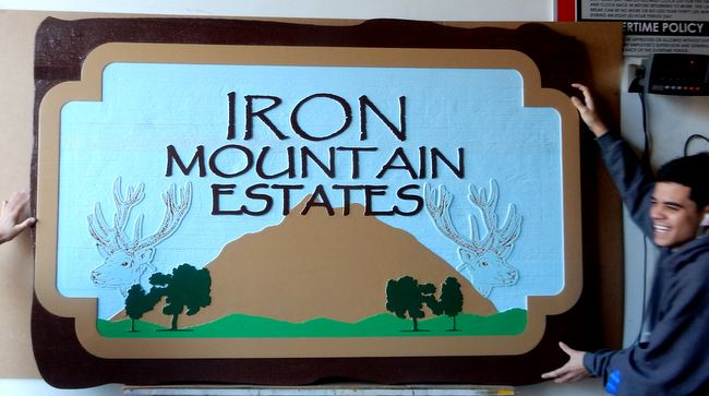 "K20170 - Carved HDU Sign for ""Iron Mountain Estates"" Private Homes, Carved Mountain, Deer and Trees"