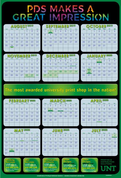 Unt Academic Calendar 2020 UNT Academic Calendar