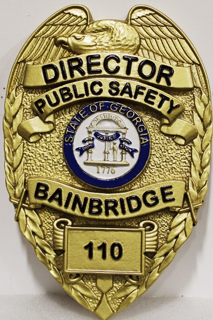 PP-1002 - Carved 3-D Bas-Relief Plaque of the Badge of the Director of Public Safety ,Bainbridge, Georgia