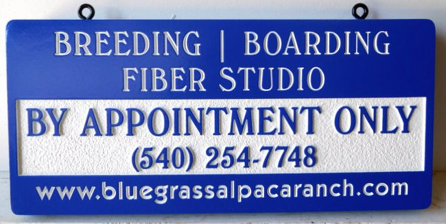 O24432 - Breeding, Boarding Fiber Carved Alpaca Ranch Sign