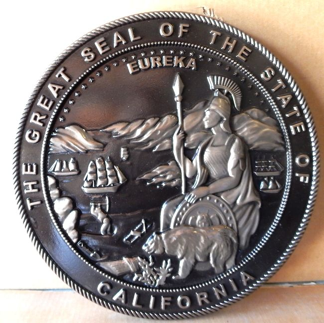 DG419 - Carved Custom  Metal-Coated Round Wall Plaque of the Great Seal of the State of California