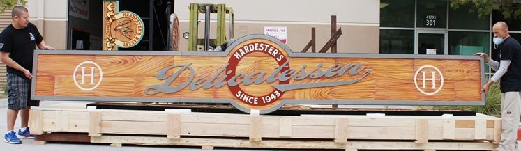 S28129 - Carved  Large High-Density-Urethane (HDU) Sign for Hardester's Deli, Painted in a Faux Wood Pattern