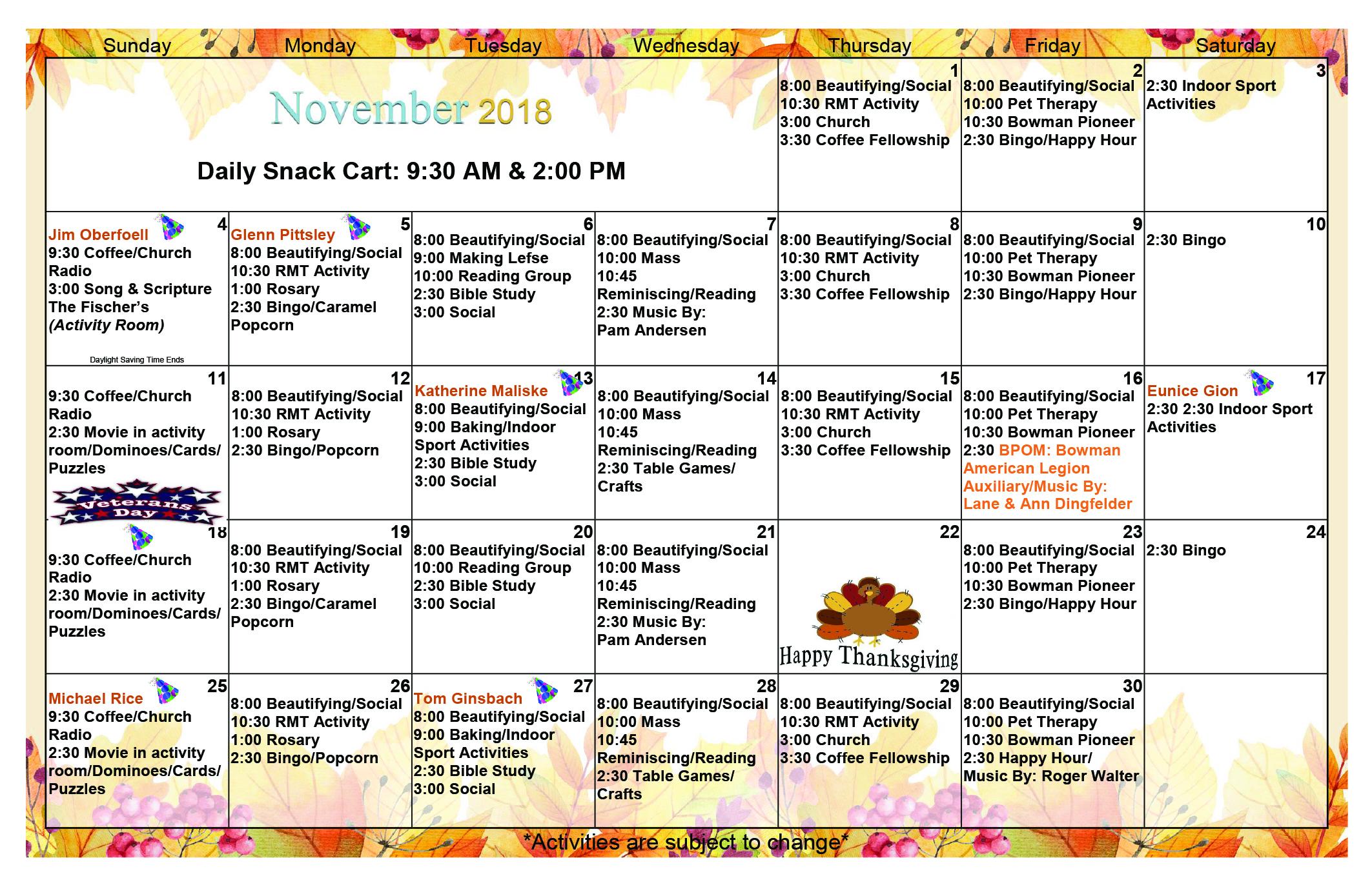 November 2018 Event Calendar