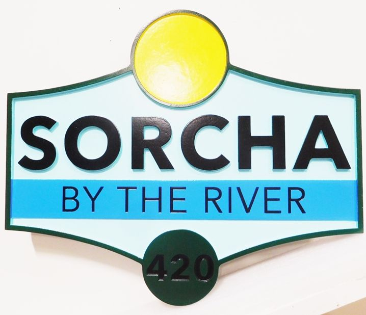 "M22449 - Carved and Engraved  HDU Vacation Home Name and Address Number Sign ""SORCHA By the River"","