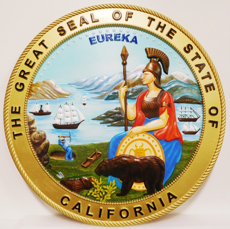 BP-1015 - Carved Plaque of the Seal of the State of California, Artist Painted