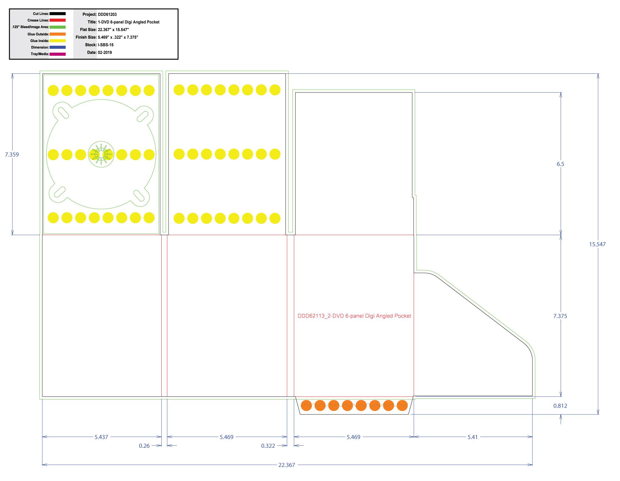 DDD61203 DVD 6 Panel Digi 1 Tray, Angled Pocket