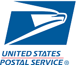 United States Postal Service logo blue rectangle shape with white eagle art