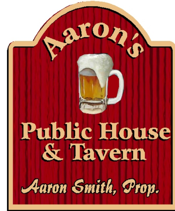 "RB27658 - Custom Carved and Sandblasted Wood Grain Home Pub ""Aarons' Public House and Tavern"" Sign"