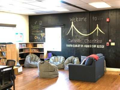 Catholic Charities Youth Club at St. Francis of Assisi reading corner