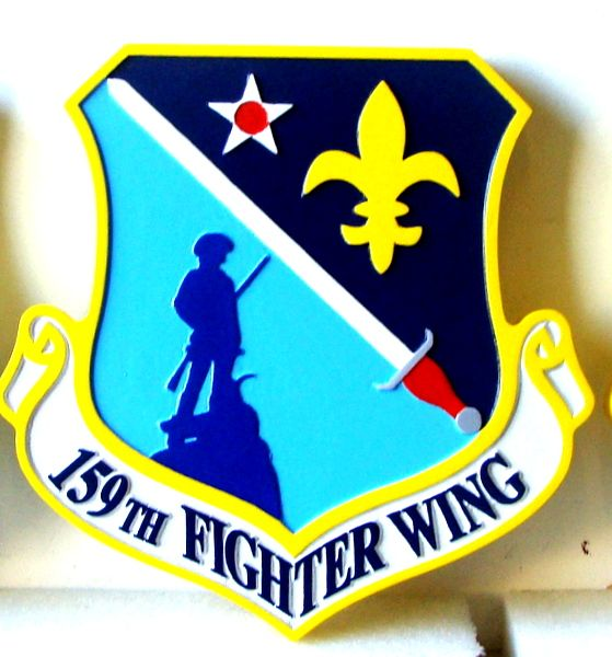 LP-2040 - Carved Shield Plaque of the Crest of the 159th Fighter Wing, 2.5-D Artist Painted