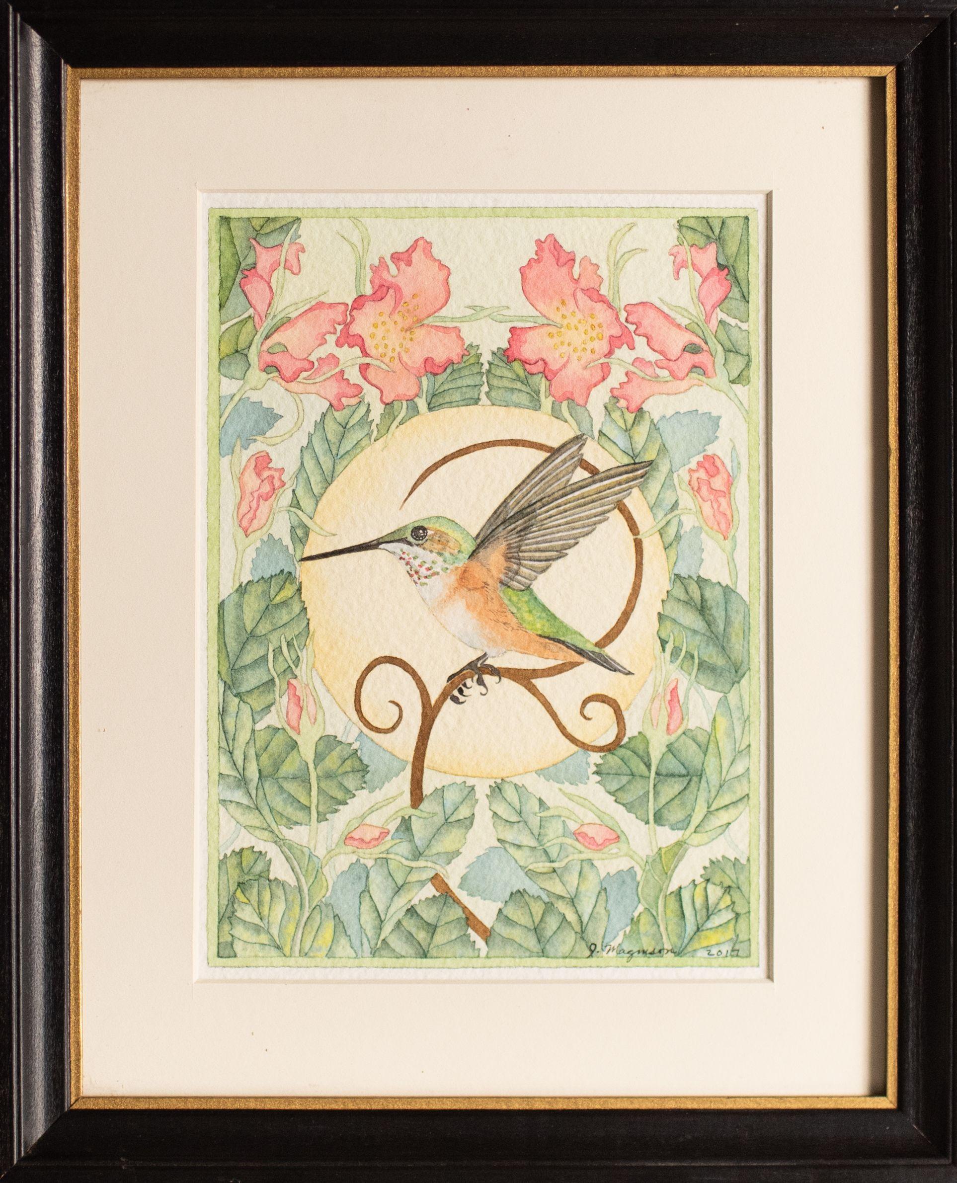 Hummingbird with Wild Roses