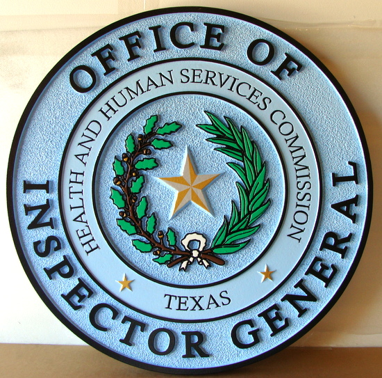 W32482 - 2.5D Carved and Sandblasted Wall Plaque of the Seal for the Inspector General of the State of Texas