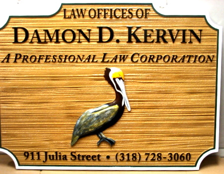 A10182 - Law Office Carved Wood Sign with Pelican Art