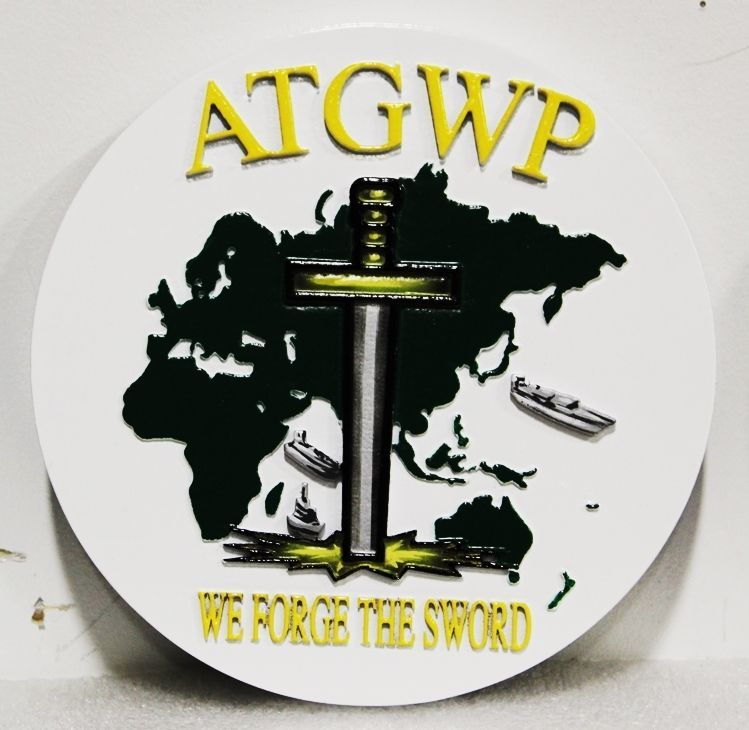 JP-1281 - Carved 2.5-D HDU Plaque of the Seal of the Afloat Training Group Western Pacific (ATGWP), US Navy