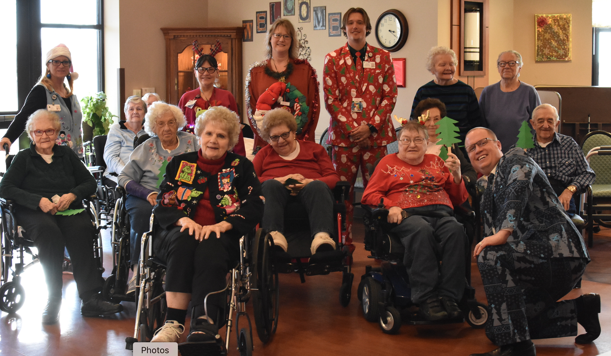Nursing Home Residents join in Christmas Ugly Sweater Contest