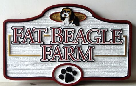"O24506 - Sandblasted and Carved ""Fat Beagle"" Farm Sign"