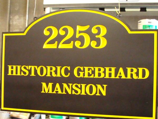 I18091 - Engraved Property Name Sign for the Historic Gebhard Mansion.