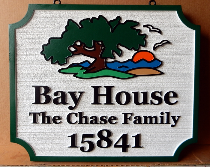"I18304 - Carved HDU Twin Fir Property Name and Address Sign ""Bay House"", with Tree and Sunset Artwork"