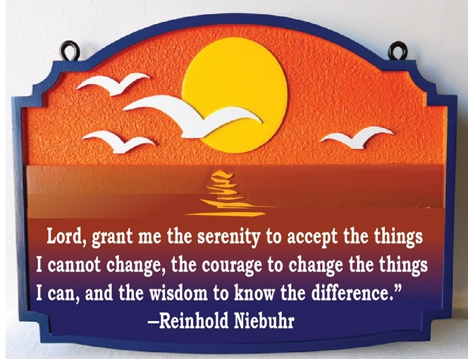 "N21363- Carved Wall Plaque with Reinhold Niebuhr's saying ""Lord,grant me the serenity to accept..."", with Sunset over the Ocean"