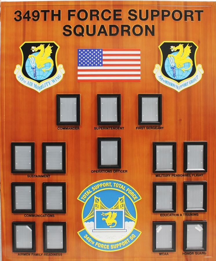 SA1265 - Large Chain-of-Command Photo Board for the 345th Force Support Squadron, US Air Force,  Carved from California Redwood