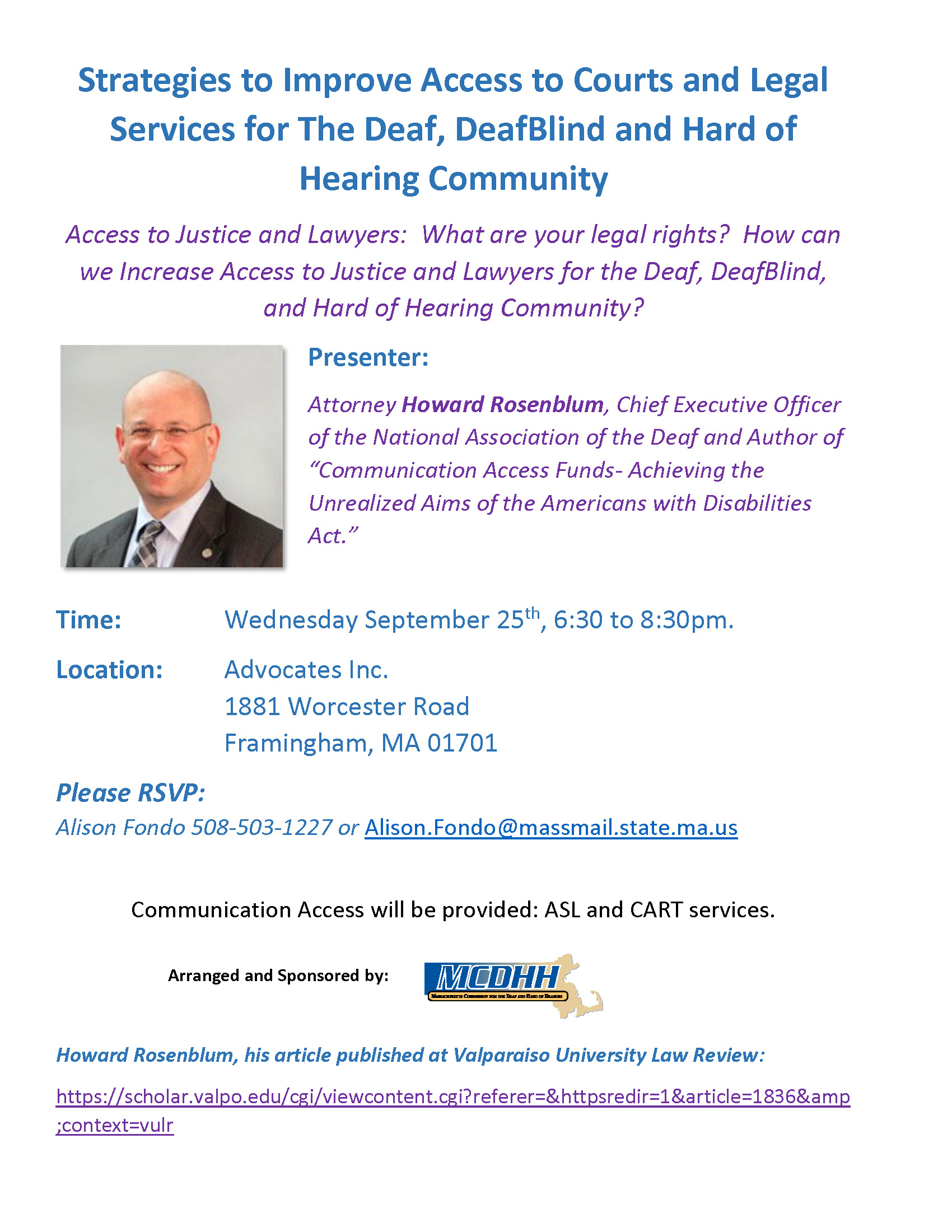 Mass Commission for Deaf Event with Howard Rosenblum