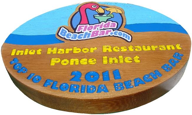 RB27255 - Carved Wood Florida Beach Bar Award