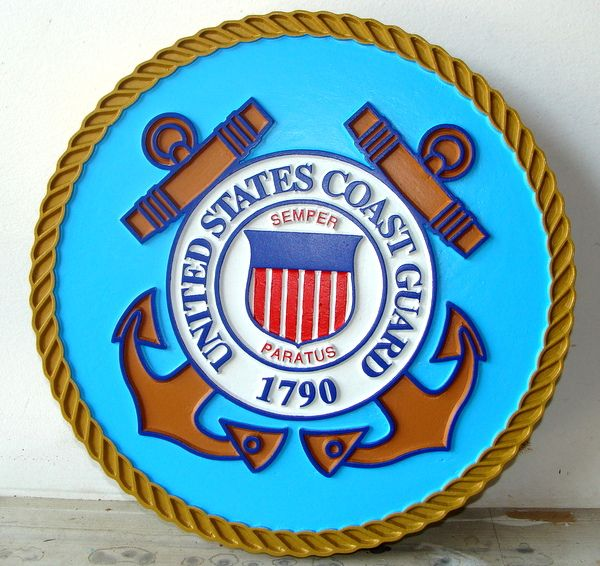 V31912 - Carved 3D Mahogany Wall Plaque of the Seal of the US Coast Guard