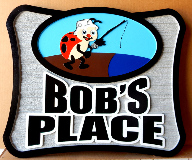 "M22446 - Carved, and Sandblasted (Wood Grain)  Sign for ""Bob's Place"" with Ladybug Fishing"