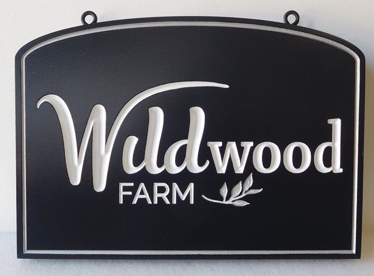 "O24038 -  Carved  Engraved HDU  Sign for the Entrance to ""Wildwood""  Farm"