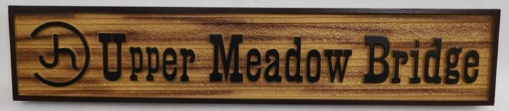 "G16118 - Carved Trail Sign for the ""Upper Meadow Bridge"", with Cattle Brand"