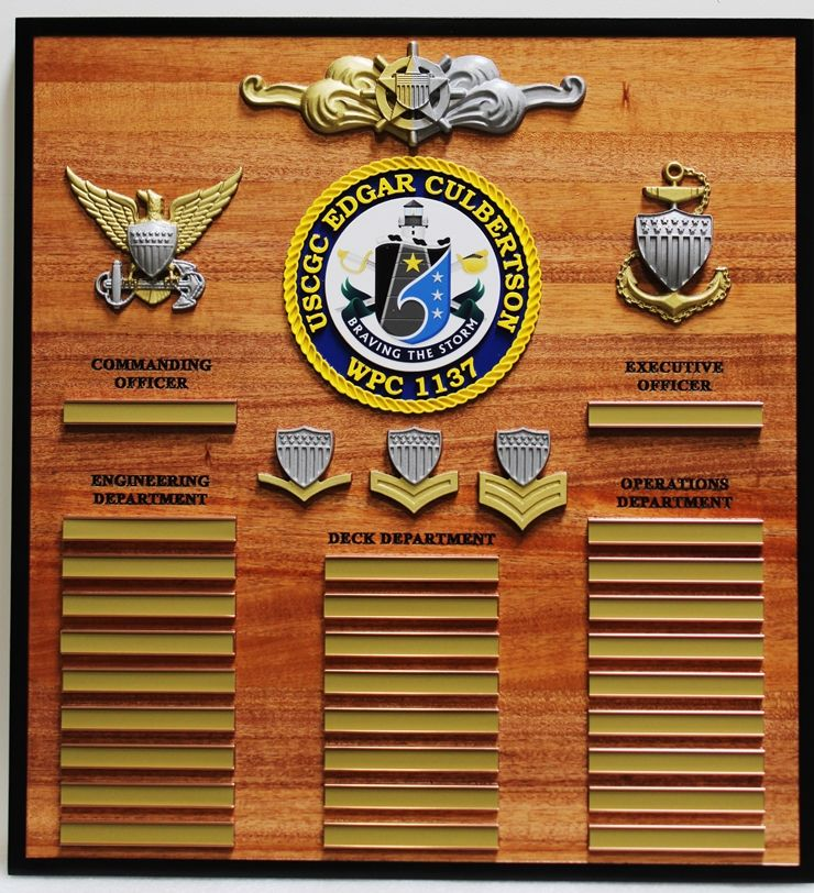 NP-2475- Carved Mahogany Ship's Command Board for USCGC Edgar Culbertson ,WPC 1122, 3-D Insignia with Nameplates