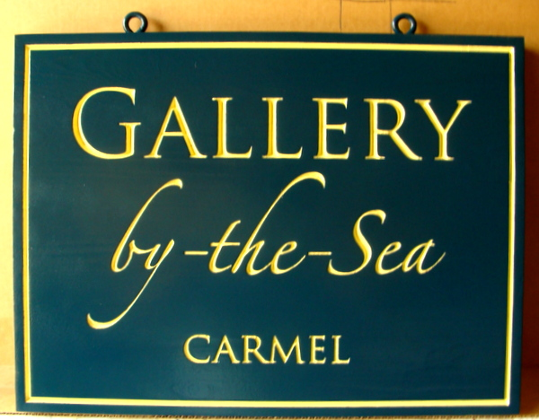 SA28413 - Sign with 24K Gold Leaf Text for Art Gallery by-the-Sea