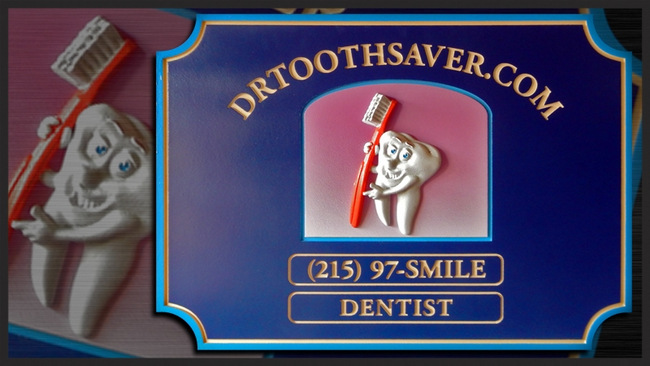 BA11560 - Carved and Engraved Dental Office Sign, with 3-D Tooth & Toothbrush and 24K Gold-leaf Gilded Text and Borders.