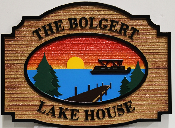 "M22303 - Carved Sign for the   ""Bolgert  Lake House"" ,  with Lake, Setting Sun, Dock, Trees and Boat"