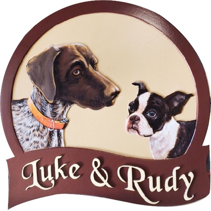 O24501 - Carved  2.5-D Multi-level relief HDU Sign featuring the Portaits of two dogs, Luke and Rudy,  as Artwork