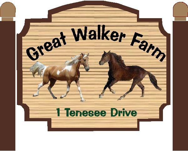 """P25118 - Design of Sandblasted Wood Look HDU Sign for """"Great Walker Farm"""" with Two Stallions"""