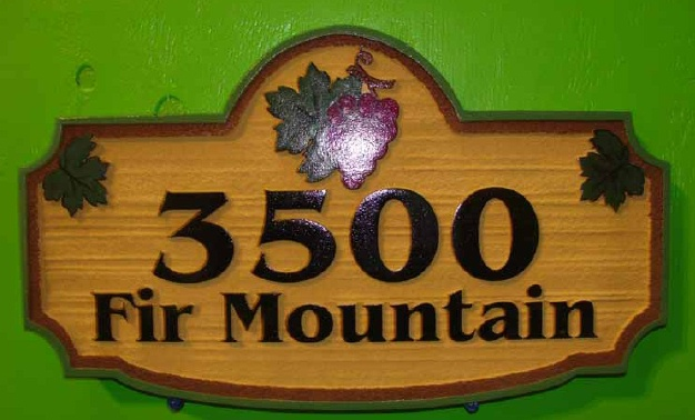 I18236 - Carved and Sandblasted  HDU SAddress Sign, with Grape Cluster and Leaves
