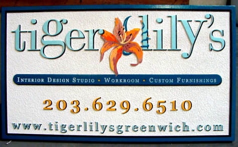 SA28361 - Carved and Sandblasted Sign for Interior Decorating Store