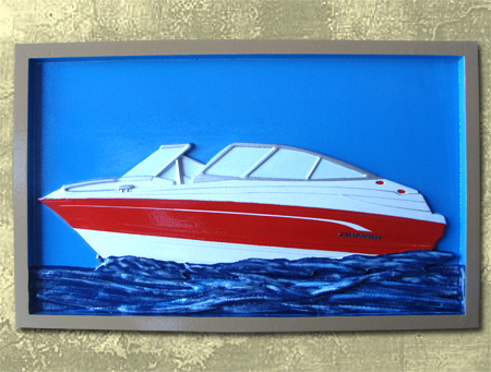 L21458-  Custom Carved 3-D Wood Wall Plaque of Powerboat, Framed