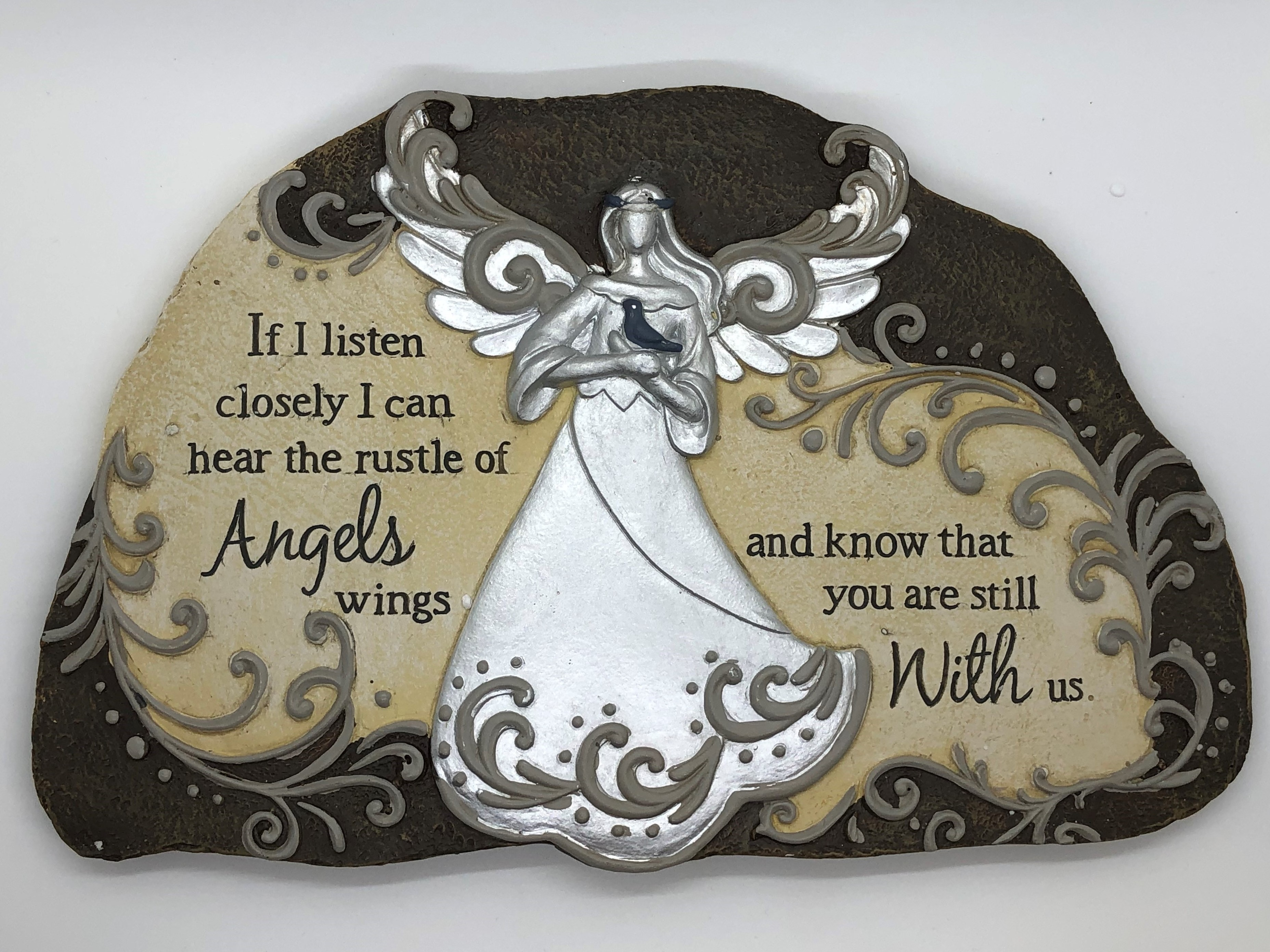 Garden Plaque Stepping Stone - If I listen closely I can hear the rustle of Angels wings