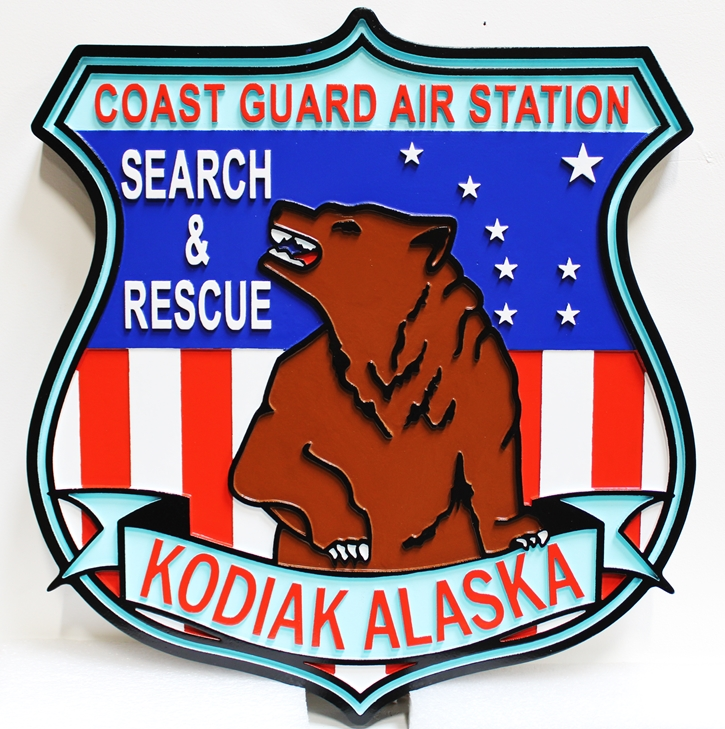NP-2170 - Carved Shield Crest of the US Coast Guard Air Station, Kodiak, Alaska, 2.5-D Artist-Painted